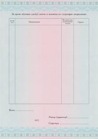 Бланк приложения к диплому с типографским текстом формат А4 вертикальное (оборотная сторона)