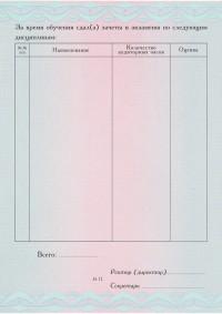 Бланк приложение к диплому о профессиональнойпереподготовкеформат А5 вертикальное (оборотная сторона)