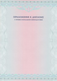 Бланк приложения к диплому без текста формат А4 вертикальное (лицевая сторона)