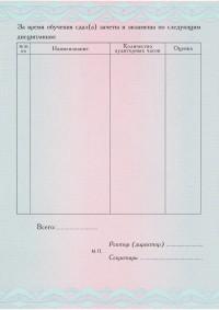 Бланк приложения к диплому с типографским текстом формат А5 Стандартный (оборотная сторона)