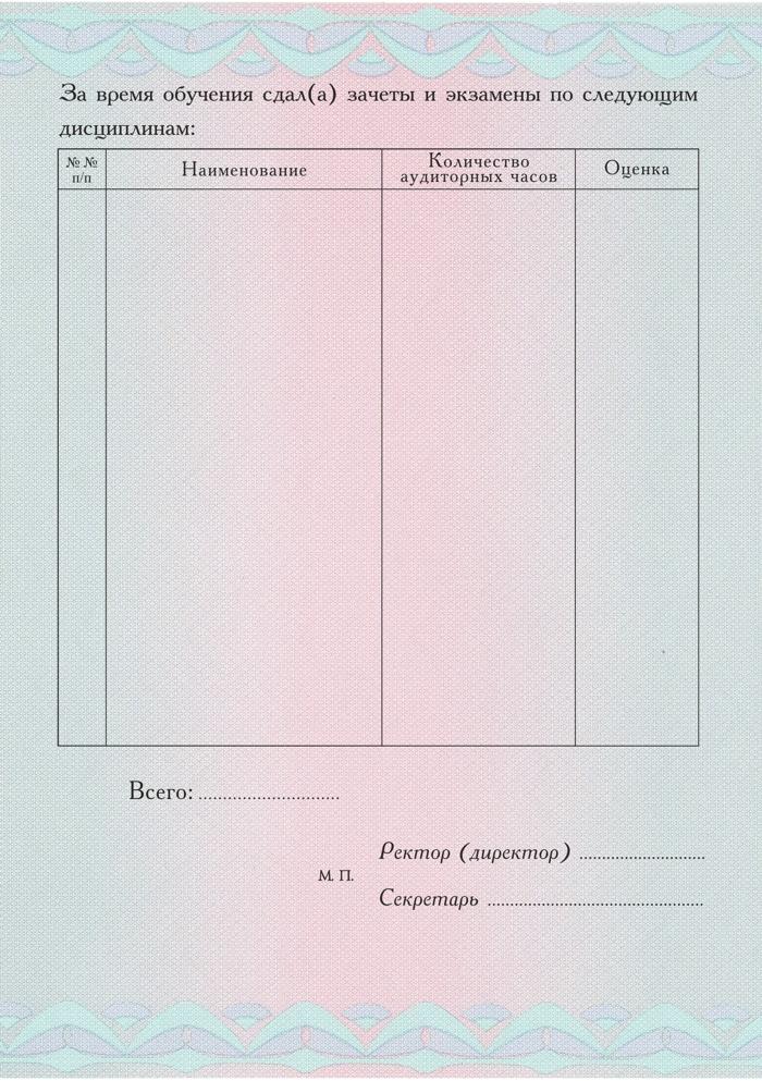 Приложение к ДПП формат А вертикальное ru 11111111 Бланк приложения к диплому с типографским текстом формат А5 Стандартный оборотная сторона